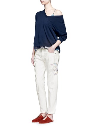 Figure View - Click To Enlarge - Tortoise - Oriental embroidery distressed cropped straight jeans