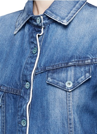 Detail View - Click To Enlarge - Tortoise - Asymmetric button back denim patchwork shirt dress