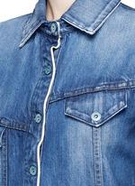 Asymmetric button back denim patchwork shirt dress