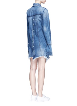 Back View - Click To Enlarge - Tortoise - Asymmetric button back denim patchwork shirt dress