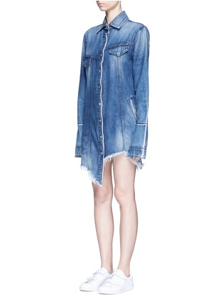 Front View - Click To Enlarge - Tortoise - Asymmetric button back denim patchwork shirt dress