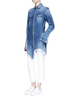 TORTOISEAsymmetric button back denim patchwork shirt dress