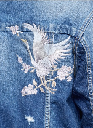 Detail View - Click To Enlarge - Tortoise - Oriental embroidery distressed denim jacket