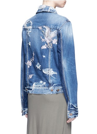 Back View - Click To Enlarge - Tortoise - Oriental embroidery distressed denim jacket