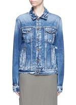 Oriental embroidery distressed denim jacket