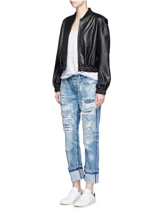 Tortoise - Distressed knit repair foldup cuff straight jeans