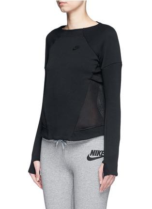 Front View - Click To Enlarge - Nike - 'Tech Fleece Mesh Crew' sweatshirt