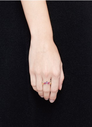 Figure View - Click To Enlarge - Anabela Chan - 'Kaleidoscope' diamond gemstone pavé ring