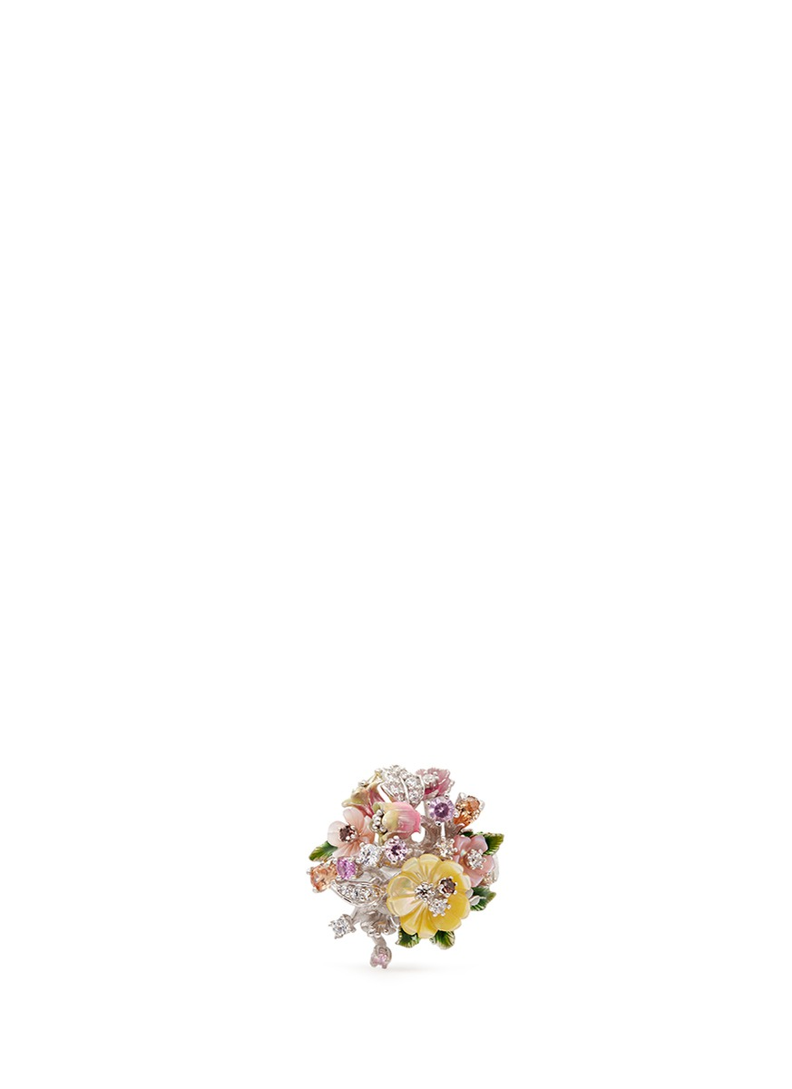 Bouquet diamond mother of pearl ring by Anabela Chan