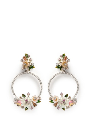 Main View - Click To Enlarge - Anabela Chan - 'Bouquet Wreath' diamond pavé mother of pearl earrings