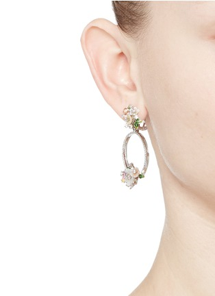 Figure View - Click To Enlarge - Anabela Chan - 'Bouquet Wreath' diamond pavé mother of pearl earrings
