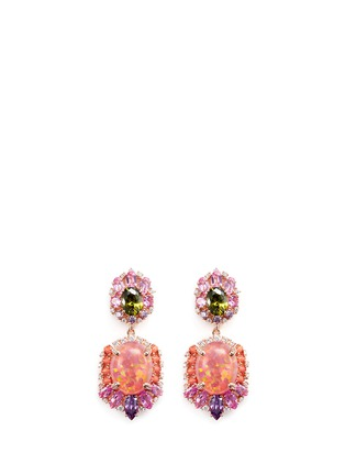 Figure View - Click To Enlarge - Anabela Chan - 'Opals' opal diamond gemstone detachable drop earrings