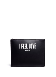 Givenchy 'I Feel Love' print iconic leather zip pouch