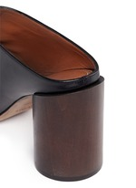 '9 Edgy' wooden heel open toe leather mules