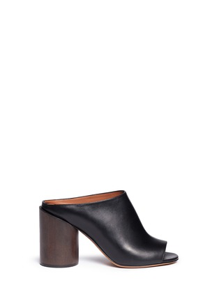 Main View - Click To Enlarge - Givenchy - '9 Edgy' wooden heel open toe leather mules
