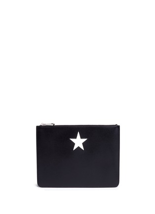 Main View - Click To Enlarge - Givenchy - 'Classic' medium star patch leather zip pouch
