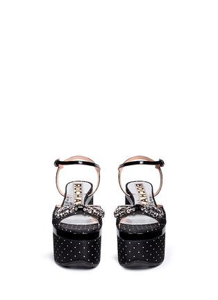 模特儿示范图 - 点击放大 - ROCHAS - 仿水晶镶空蝴蝶结粗跟凉鞋