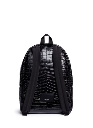 Back View - Click To Enlarge - SAINT LAURENT - 'Classic Hunting' croc embossed leather backpack