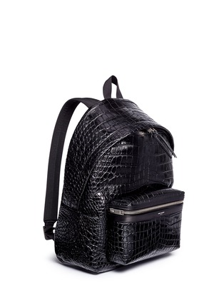 Front View - Click To Enlarge - SAINT LAURENT - 'Classic Hunting' croc embossed leather backpack