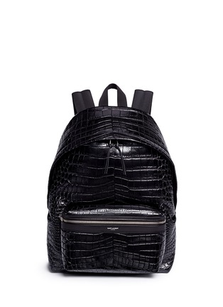 Main View - Click To Enlarge - SAINT LAURENT - 'Classic Hunting' croc embossed leather backpack