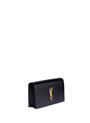 Front View - Click To Enlarge - Saint Laurent - 'Monogram' grainy leather flap clutch