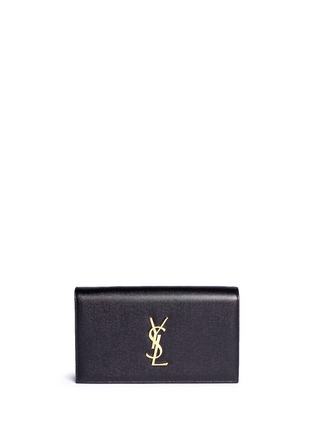 Main View - Click To Enlarge - Saint Laurent - 'Monogram' grainy leather flap clutch