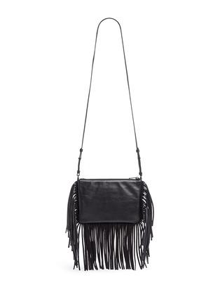 Back View - Click To Enlarge - Saint Laurent - 'Monogram' fringe crossbody bag