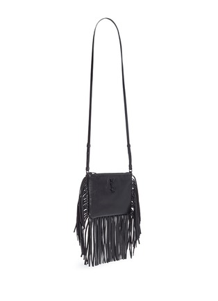 Front View - Click To Enlarge - Saint Laurent - 'Monogram' fringe crossbody bag