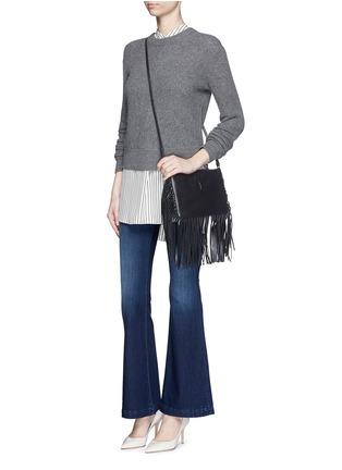 Figure View - Click To Enlarge - Saint Laurent - 'Monogram' fringe crossbody bag
