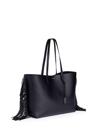 Front View - Click To Enlarge - Saint Laurent - Large fringe leather tote