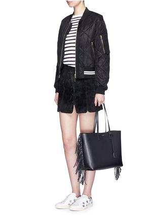 Figure View - Click To Enlarge - Saint Laurent - Large fringe leather tote