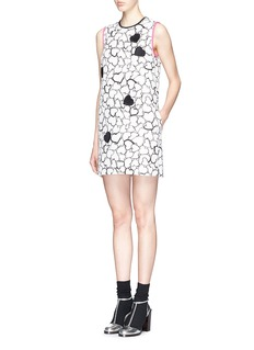 MSGM Heart print embroidery matelassé shift dress