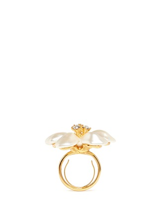 Detail View - Click To Enlarge - Kenneth Jay Lane - Glass pearl flower ring