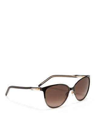 Figure View - Click To Enlarge - Gucci - Twist temple two-tone metal sunglasses