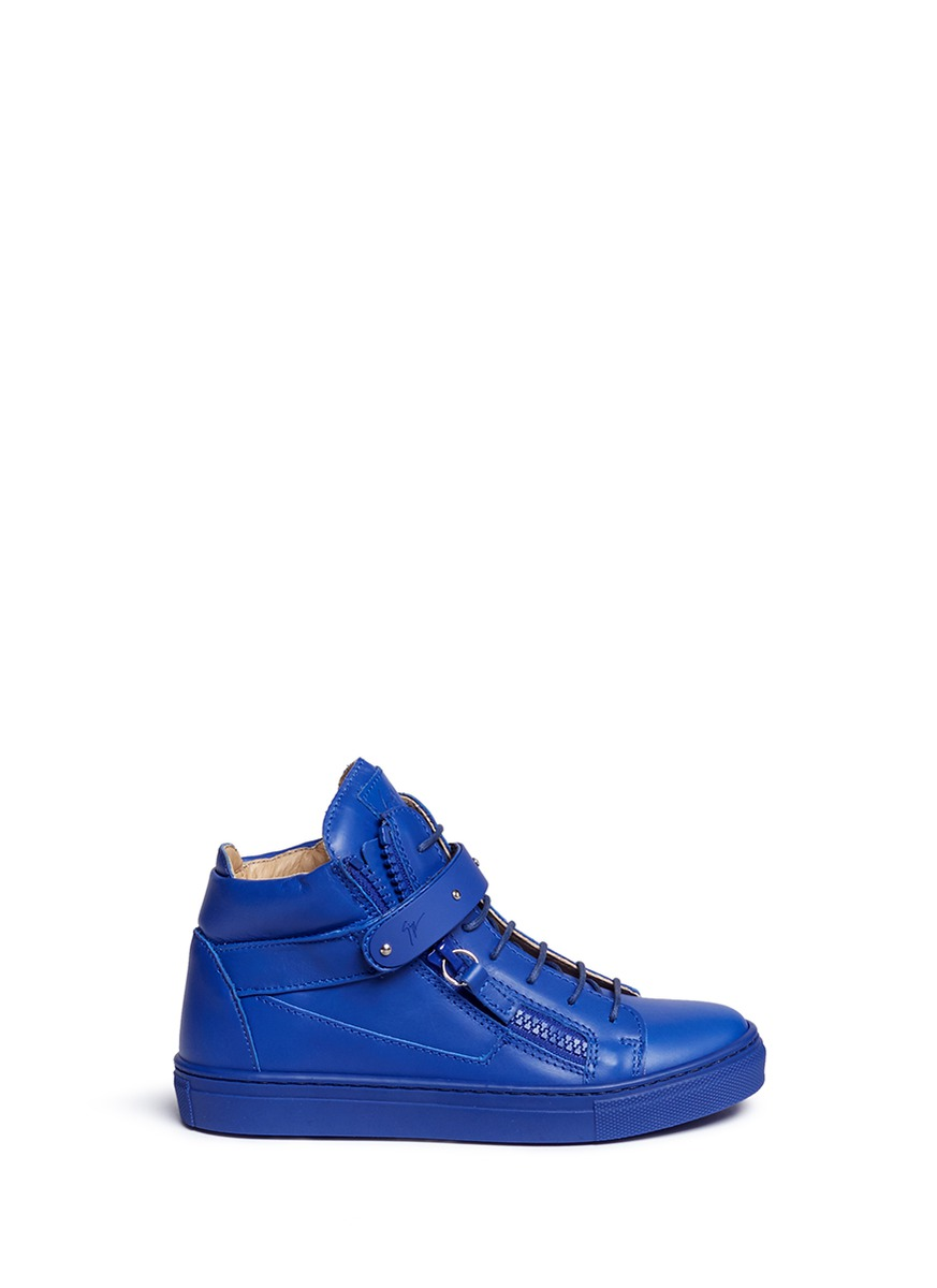 Taylor Junior double zip leather kids sneakers by Giuseppe Zanotti Design