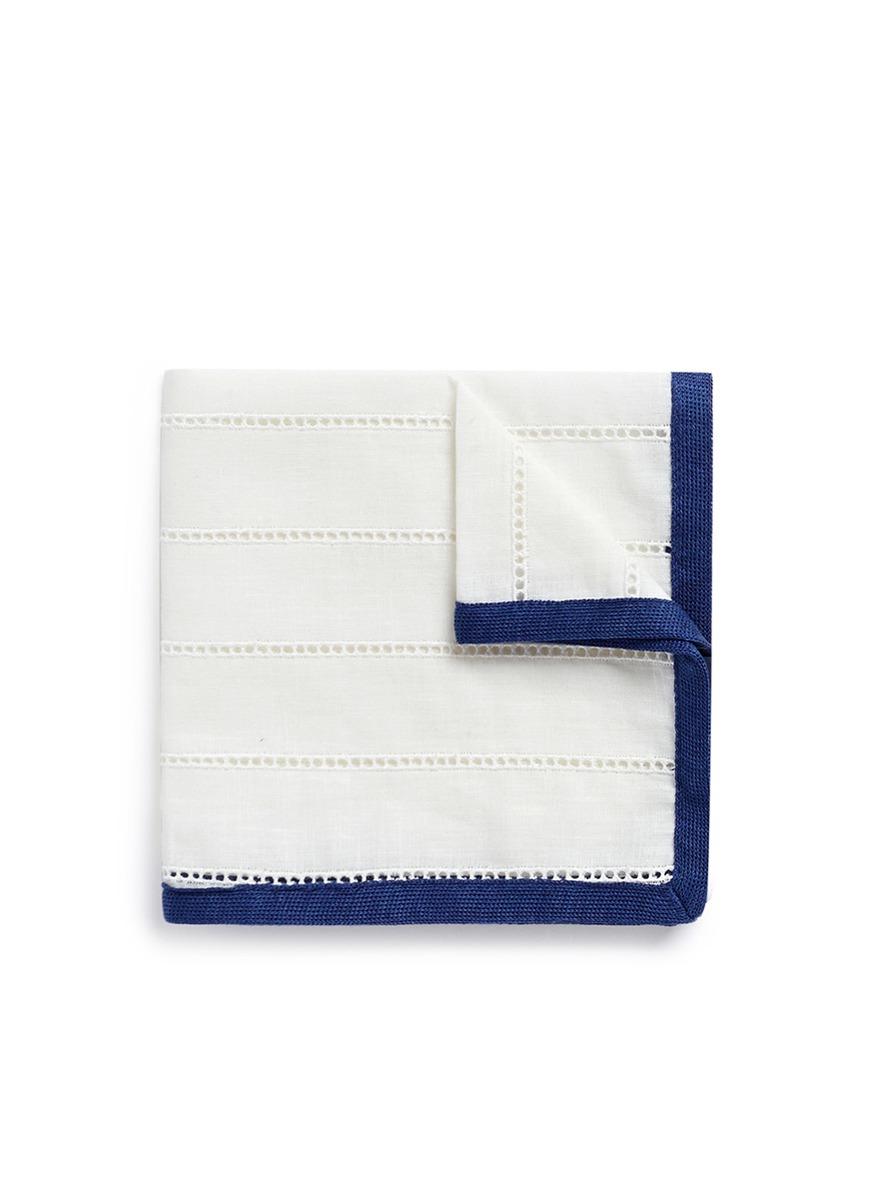 Ladder stitch trim pocket square by Lardini