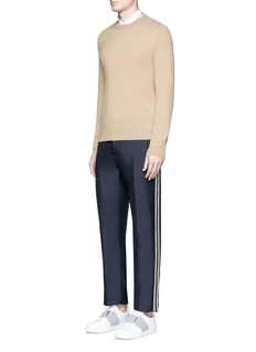 Valentino Ribbon outseam mohair-virgin wool pants