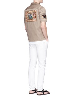 Valentino Embellished patch cotton Cuban shirt