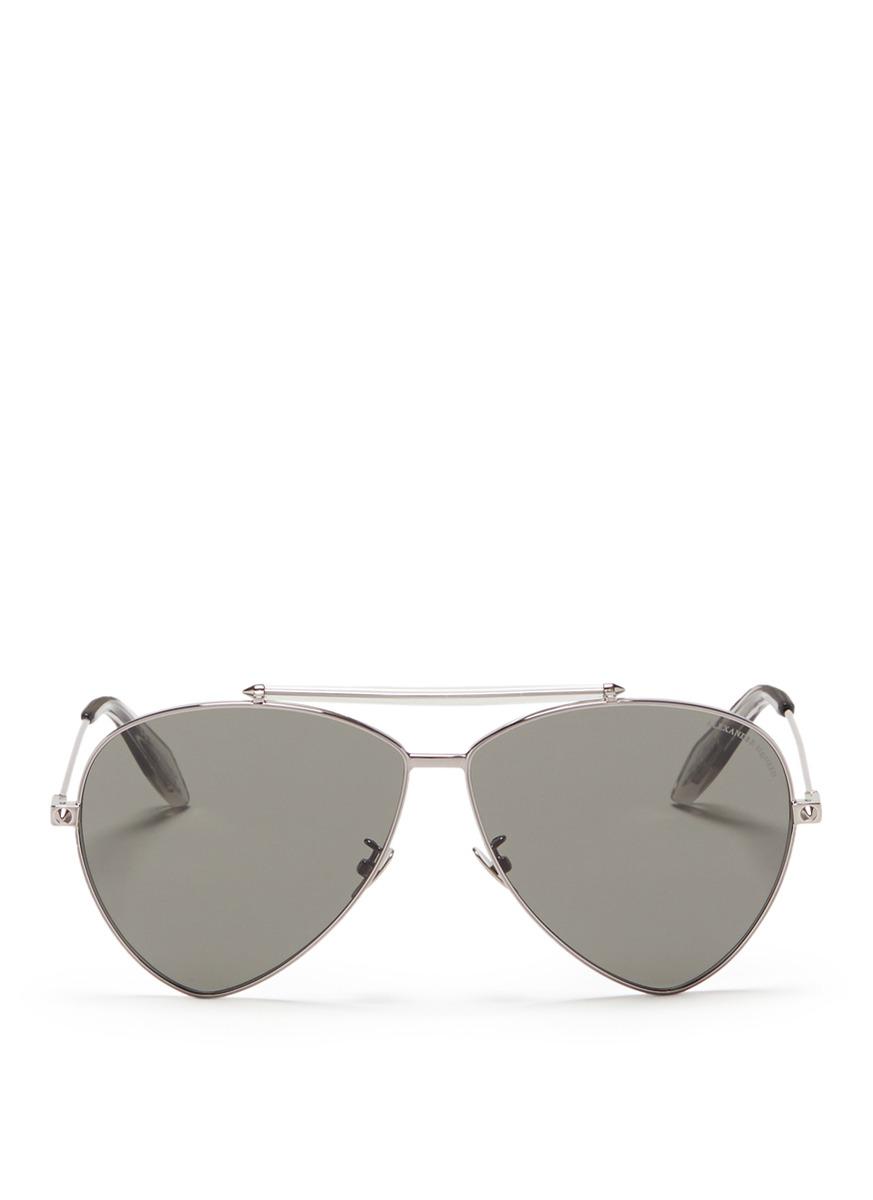 alexander mcqueen female piercing shield frame aviator sunglasses