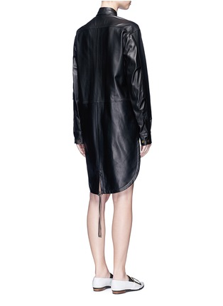 Back View - Click To Enlarge - Helmut Lang - Lambskin leather shirt dress