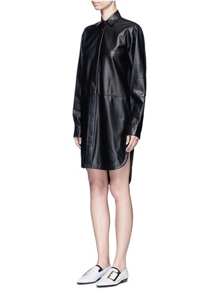 Front View - Click To Enlarge - Helmut Lang - Lambskin leather shirt dress