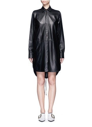 Main View - Click To Enlarge - Helmut Lang - Lambskin leather shirt dress