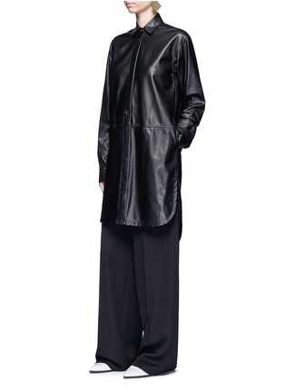 Figure View - Click To Enlarge - Helmut Lang - Lambskin leather shirt dress