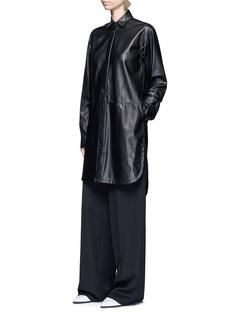 Helmut LangLambskin leather shirt dress