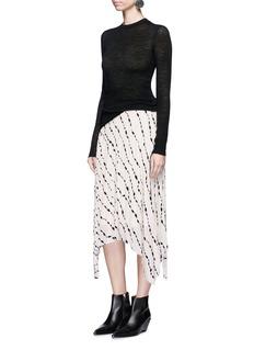 Helmut LangRibbon print pleated silk handkerchief skirt