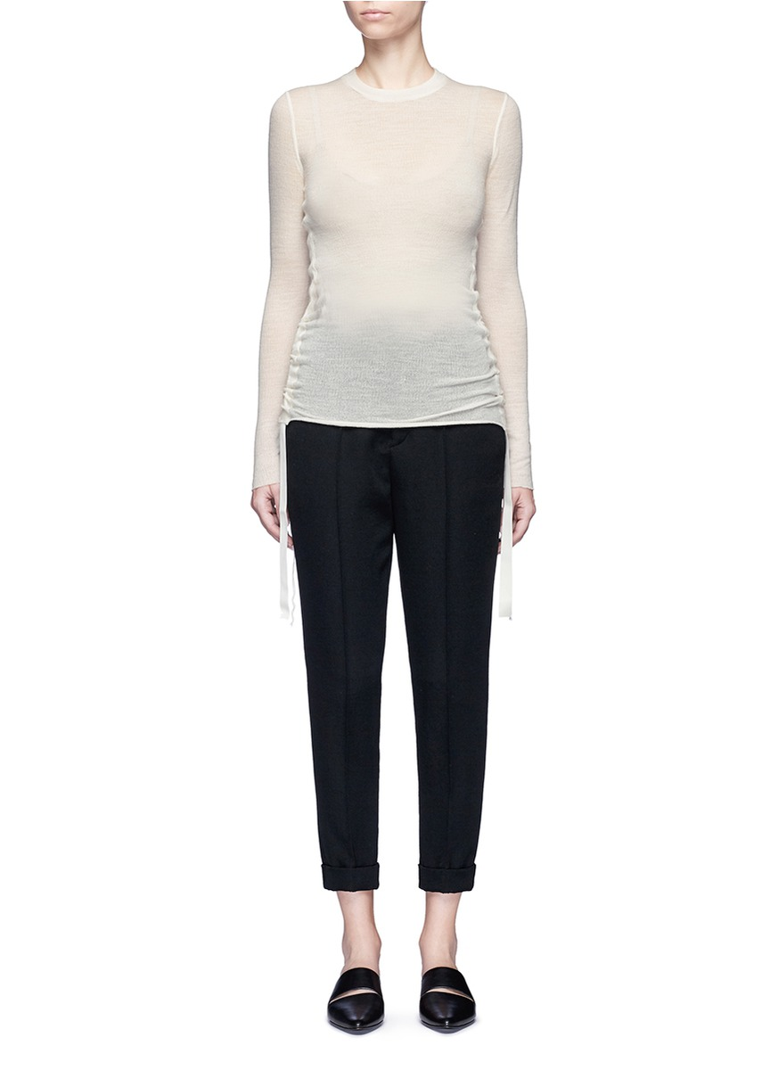 Ribbon ruched side wool jersey top by Helmut Lang