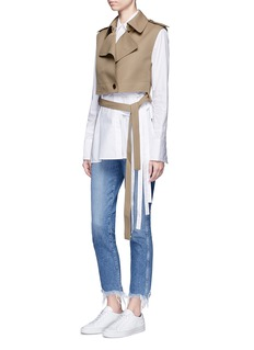 Helmut Lang Cropped bonded wool twill trench vest