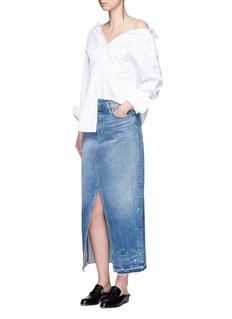 Helmut Lang'Remark' splatter paint print denim skirt