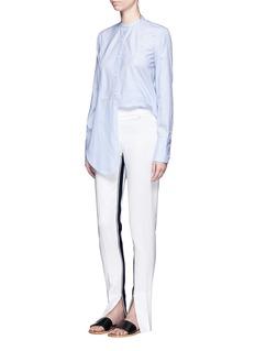 Helmut Lang'Oxford Tuxedo' stripe bib front cotton shirt