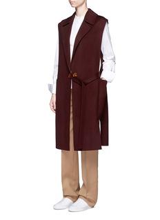 Helmut LangOversized pocket felted wool-cashmere long vest
